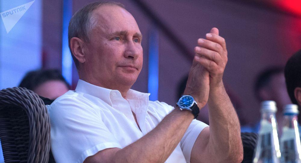 Vladimir Putin visita il Torneo internazionale di sambo a Sochi.