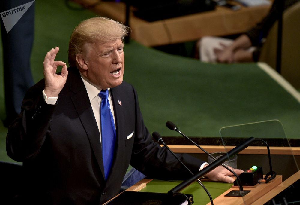 Il presidente USA Donald Trump alla sessione dell'Assemblea generale ONU a New York.