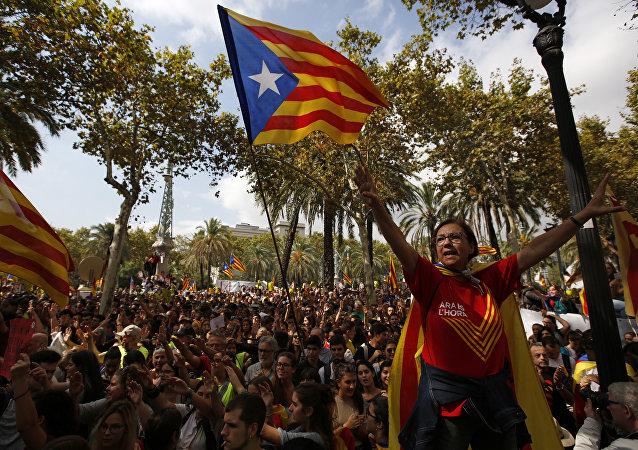 La bandiera catalona vista durante le manifestazioni a Barcellona.
