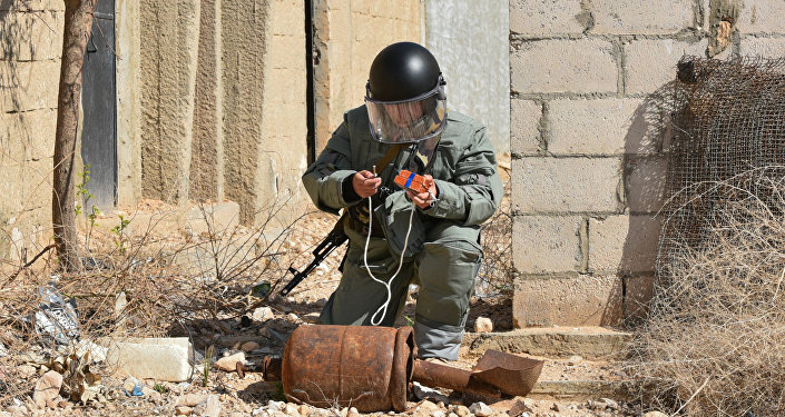 Russian engineers conduct mine clearance operation in Palmyra