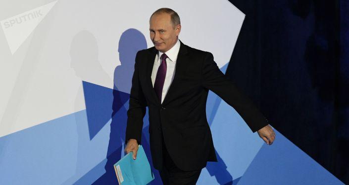 Il presidente russo Vladimir Putin alla sessione conclusiva del Valdai Club.