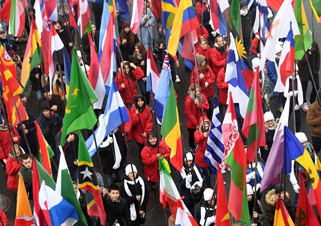 Carnival procession as part of 19th World Festival of Youth and Students