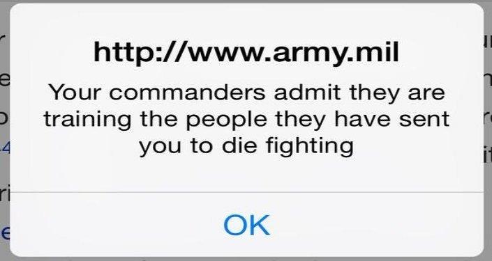 Il link della foto dell'attacco cibernetica al sito dell'esercito americano