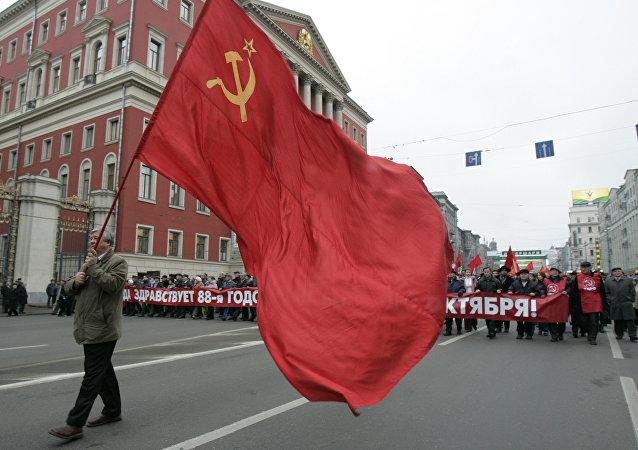 Celebrazione dell'88° anniversario della rivoluzione d'ottobre a Mosca.