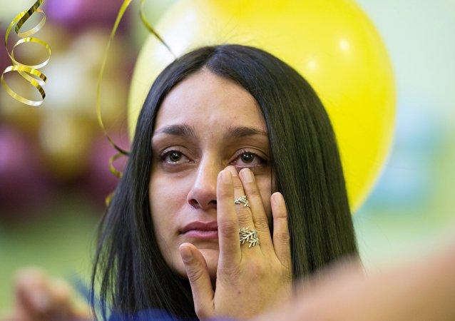 Una ragazza in lacrime