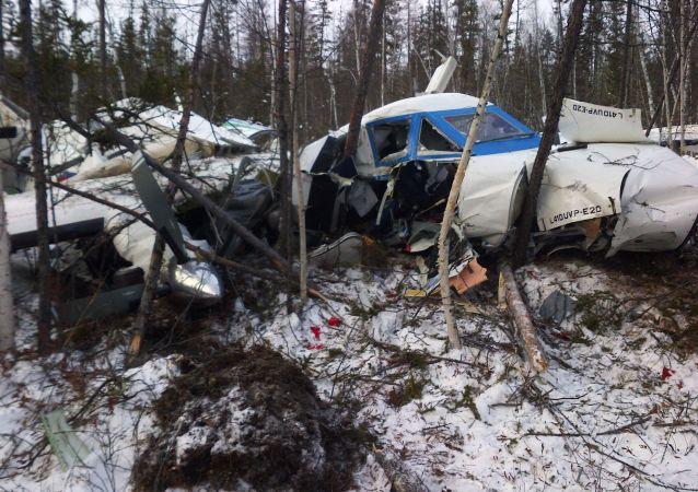 Rottami dell'aereo L-410 precipitato nella regione di Khabarovsk