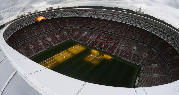 Veduta dall'alto del nuovo stadio Luzhniki, dove si svolgerà la finale dei Mondiali 2018