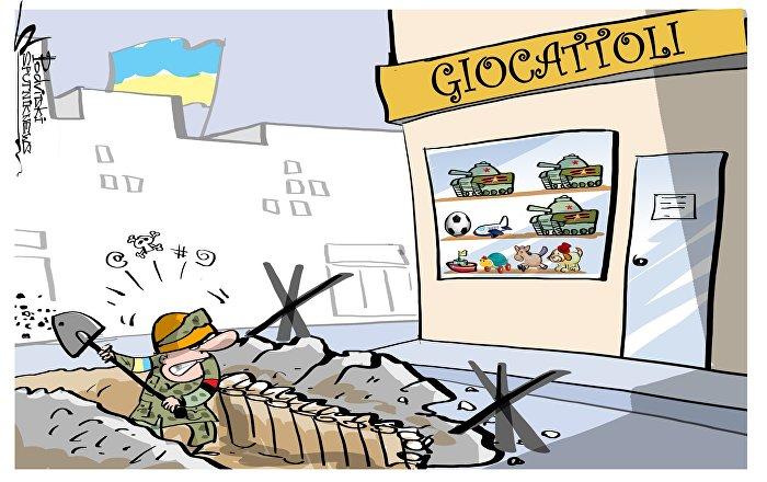 Dei clienti di un supermercato a Kiev hanno protestato per la vendita di carri armati giocattolo con simboli russi.