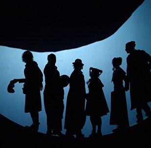 Una rappresentazione de I giganti della montagna di Pirandello al teatro Fomenko di Mosca