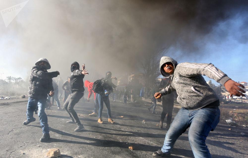 Manifestanti a Ramalla, Palestina.