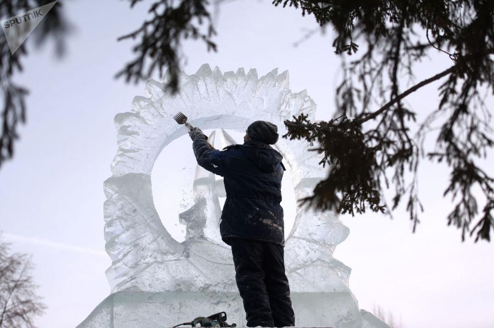 La città di ghiaccio a Tomsk