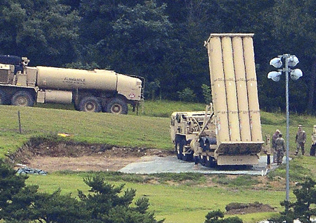 U.S. missile defense system called Terminal High Altitude Area Defense, or THAAD, is seen at a golf course in Seongju, South Korea, Wednesday, Sept. 6, 2017