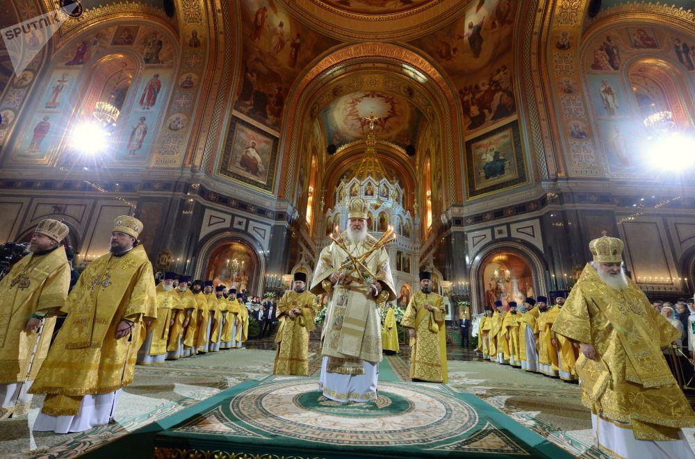 Il patriarca di Mosca e tutte le Russie Kirill durante la Messa di Natale nella Cattedrale di Cristo Salvatore a Mosca.