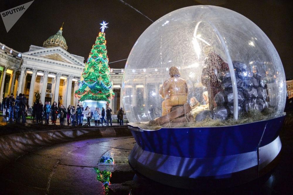La piazza di Kazan a San Pietroburgo.