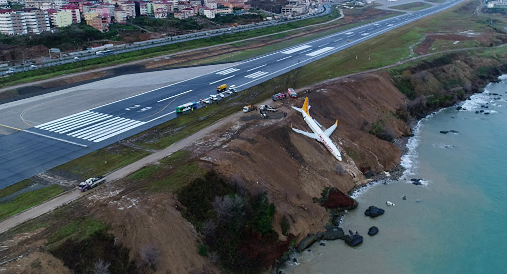 A Pegasus Airlines aircraft is pictured after it skidded off the runway at Trabzon airport by the Black Sea in Trabzon, Turkey, January 14, 2018