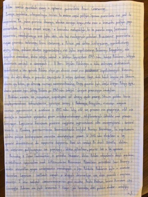 Lettera da carcere del politico polacco Mateusz Piskorski