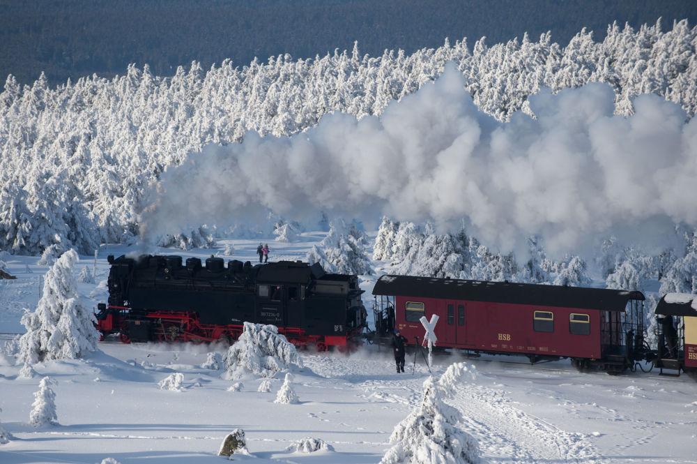 Una locomotiva della Harzer Schmalspurbahnen, Germania.