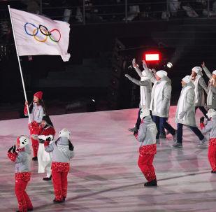 Gli atleti olimpici dalla Russia alla cerimonia di apertura delle Olimpiadi di Pyeongchang 2018
