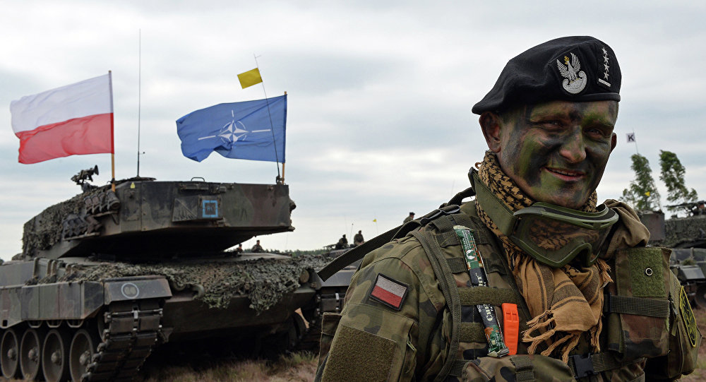 Polish tank commander smiles after a NATO Response Force (NRF) exercise in Zagan, southwest Poland on June 18, 2015.