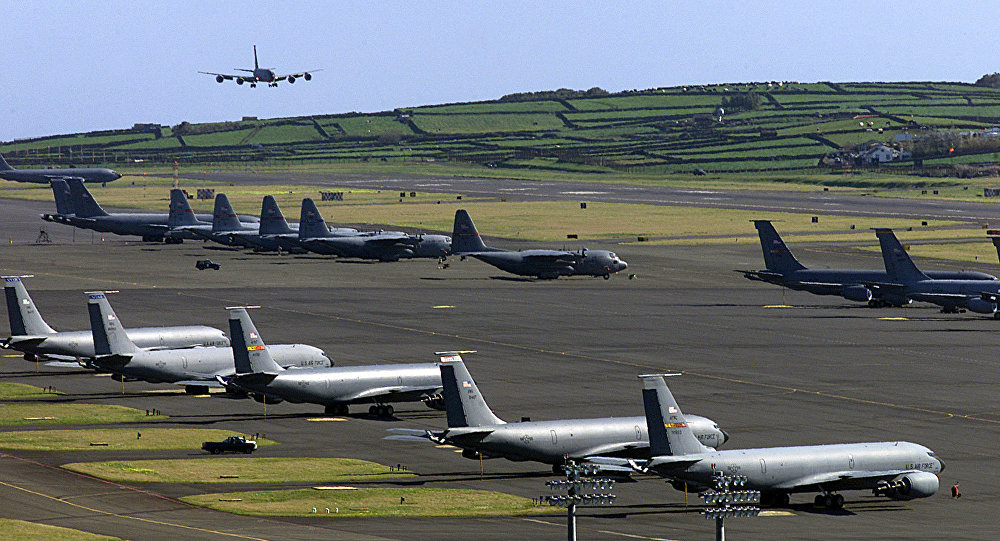US Air Force plane landing on the Base das Lajes, a US military base in the Portuguese archipelago of Azores