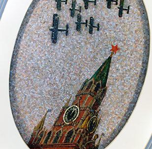 Un mosaico della stazione Mayakovskaya nella metropolitana di Mosca