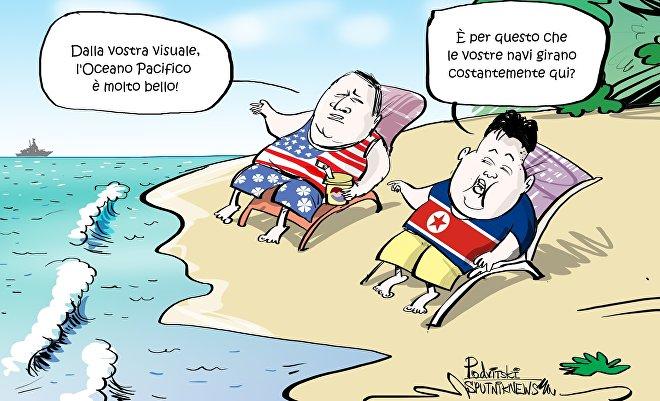 Incontro di Mike Pompeo e Kim Jong-un secondo la visione del nostro caricaturista.