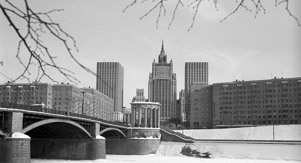 La veduta della sede del ministero degli Esteri dell'URSS a Mosca. (Foto d'archivio)
