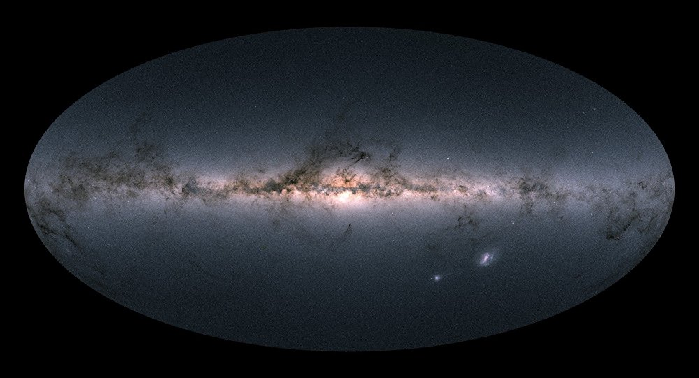 Gaia's all-sky view of our Milky Way Galaxy and neighbouring galaxies, based on measurements of nearly 1.7 billion stars. The map shows the total brightness and colour of stars observed by the ESA satellite in each portion of the sky between July 2014 and May 2016.