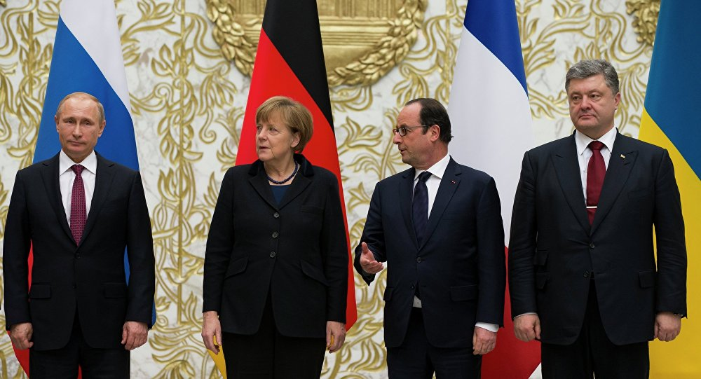 Vladimir Putin, Angela Merkel, Francois Hollande, Petr Poroshenko