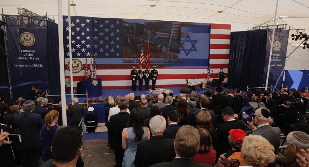 Presentation of colors by U.S Marines and singing of the U.S national anthem during the opening ceremony of the new US embassy in Jerusalem, Monday, May 14, 2018