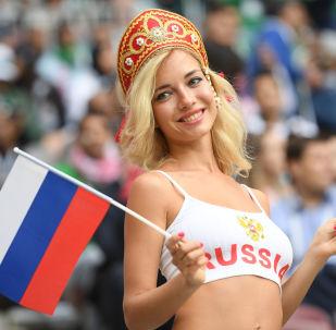 Una tifosa della nazionale russa