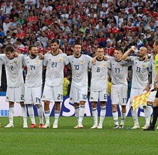 La nazionale russa alla partita con la Spagna