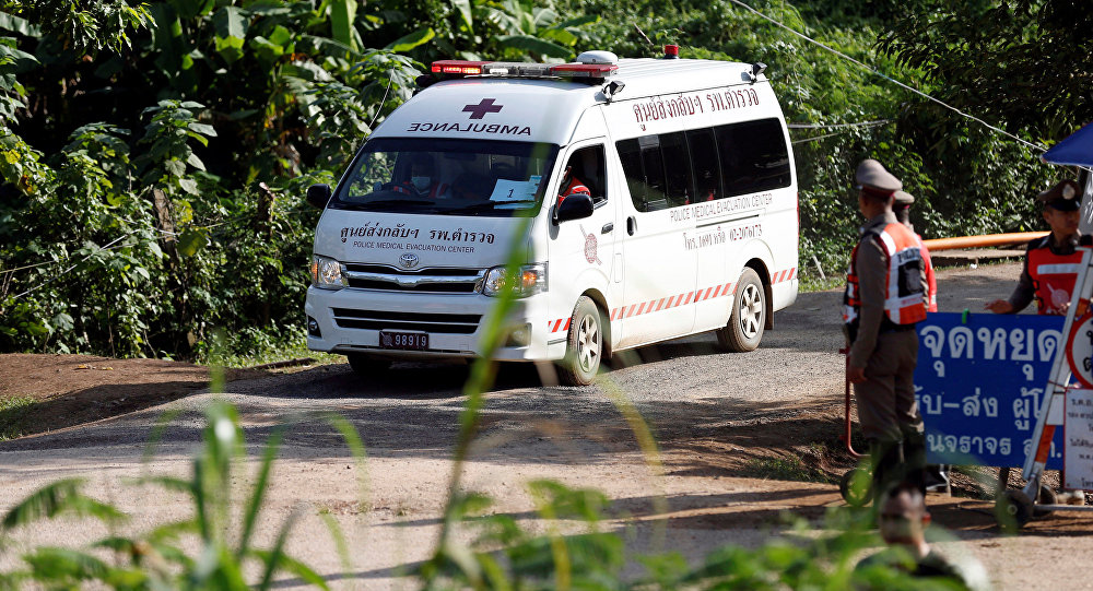 An ambulance believed to be carrying rescued schoolboys leaves from Tham Luang cave complex in the northern province of Chiang Rai, Thailand, July 9, 2018