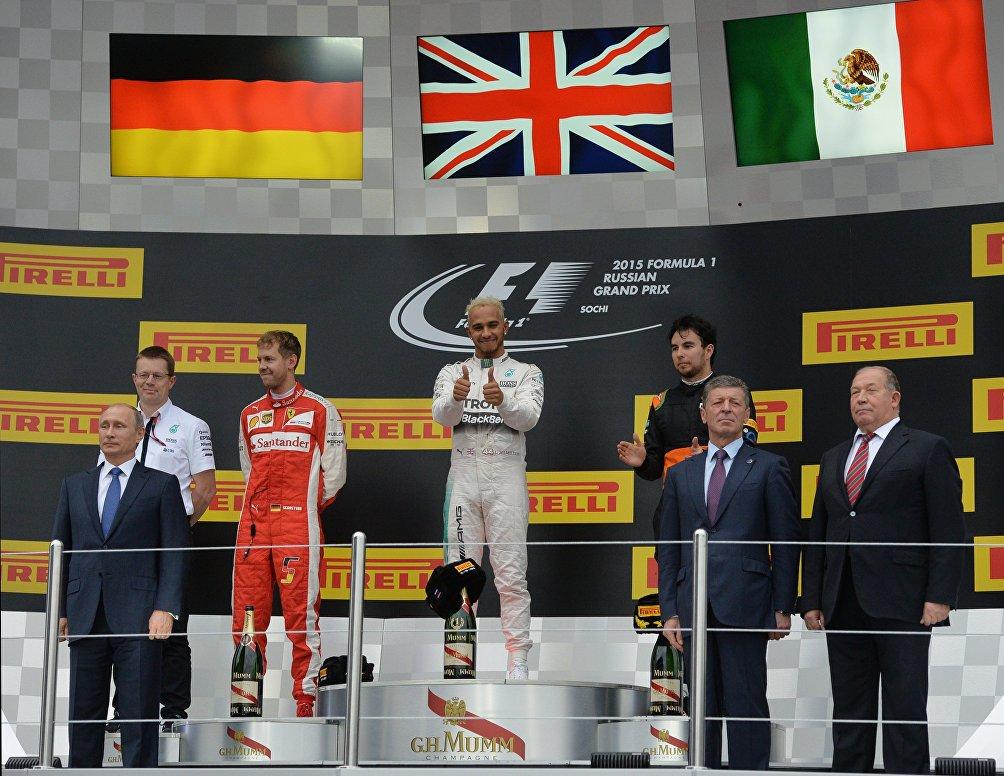 Il podio del GP di Russia di Formula 1 del 2015, vinto da Lewis Hamilton su Sebastian Vettel