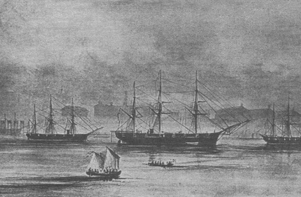 Le navi russe nella rada di San Francisco: la corvetta Bogatyr è al centro.
