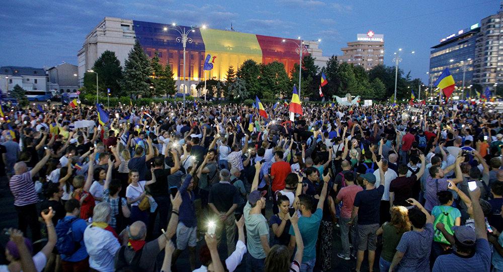Le proteste a Bucarest in Romania