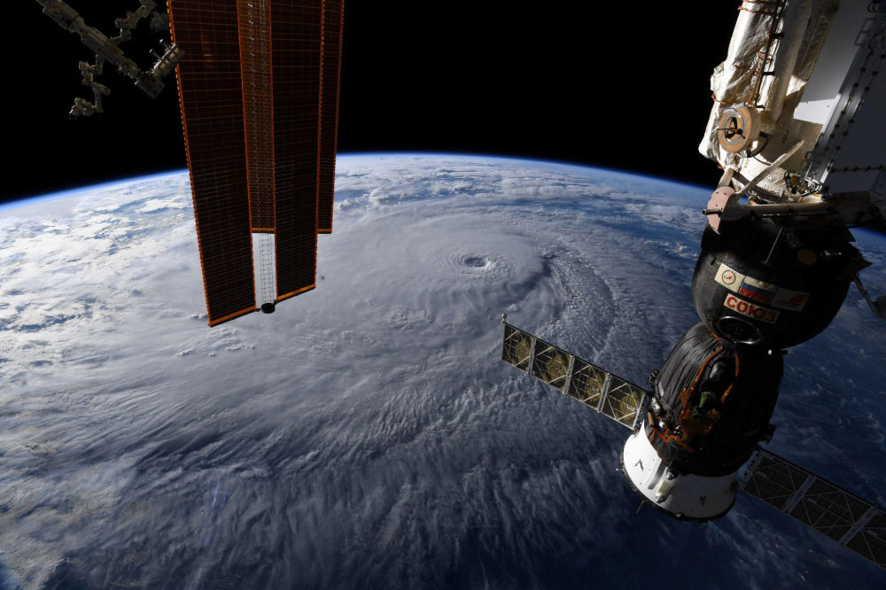 La veduta dell'uragano Lane sulle Hawaii.