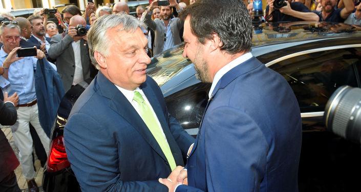 Il premier della Ungheria Viktor Orban e il vice premier italiano Matteo Salvini
