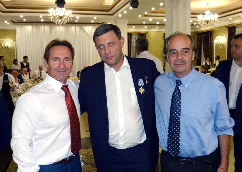 26 agosto 2018, Eliseo Bertolasi insieme ad Aleksandr Zakharchenko a Tskhinval, a destra Mauro Murgia