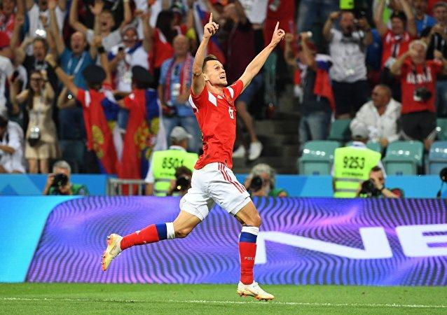 L'esultanza di Cheryshev dopo il gol del vantaggio russo contro la Croazia