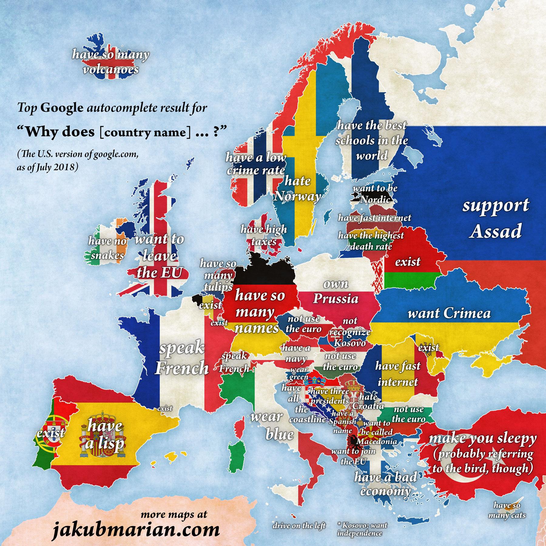 """Il sito Jakup Marian ha creato una mappa esilarante dell'autocompletamento delle ricerche google degli americani su vari paesi europei inserendo sul motore di ricerca la frase """"Why does...?"""" (perchè...?)."""