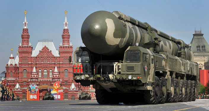 Russian Topol-M intercontinental ballistic misiles drive through Red Square during the Victory Day parade in Moscow. File photo