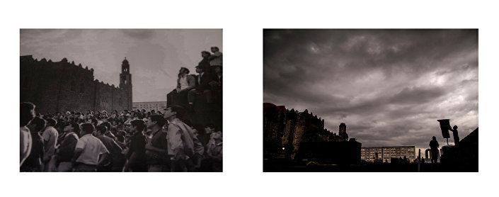 Studenti durante la manifestazione di Plaza de las Tres culturas il 2 ottobre del 1968. Fotografia: Oscar Meléndez. Archivio della Casa de la Humanidades/ La Plaza de las Tres culturas nel 2018. Fotografia: Eliana Gilet.