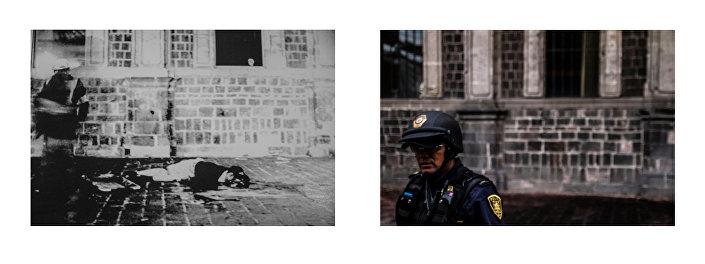 Cadavere di uno studente a Tlatelolco, 2 ottobre 1968. Archivio Heralso Gutiérrez Vivó- Balderas dell'Università Iberoamericana (AFHGV, n° 1905) / La polizia di fronte alla Parrocchia dell'Apostolo Santiago in Plaza de las Tres culturas. Fotografia: Eliana Gilet.