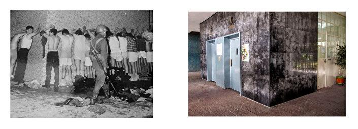 Repressione dei civili, Tlatelolco, 2 ottobre del 1968. Fotografia: Manuel Gutiérrez Paredes. Archivio della UNAM (ISSUE-AHUNAM, n° 3076) / Ingresso dell'edificio Chihuahua nel 2018. Fotografia: Eliana Gilet.