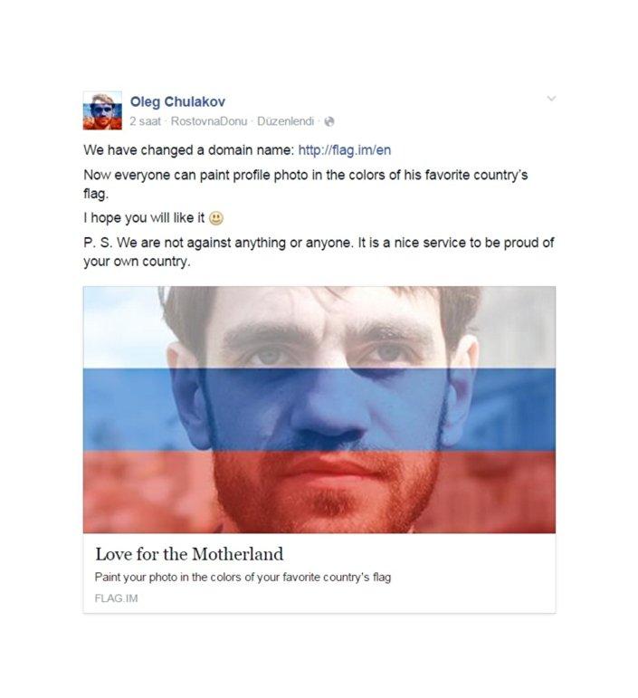 Il designer Oleg Chulakov, che ha ideato il sito per colorare la propria foto profilo come la bandiera del proprio paese
