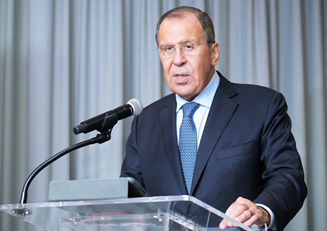 Russian Foreign Minister Sergei Lavrov at the 73rd session of the UN General Assembly at the United Nations headquarters in New York.
