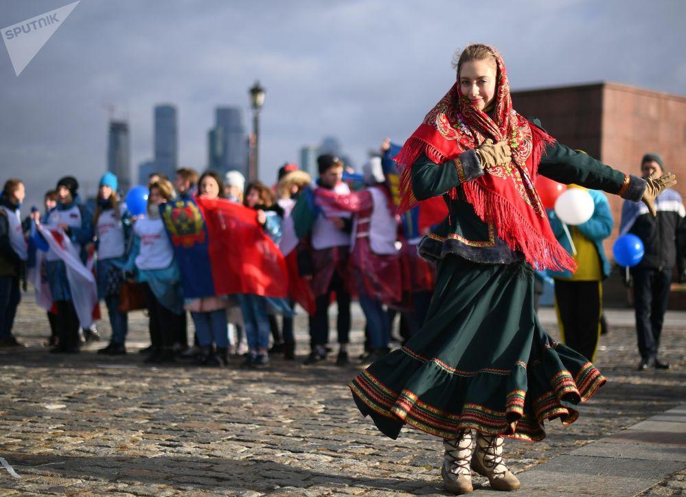 I partecipanti della manifestazione dedicata alla Giornata dell'unità nazionale a Mosca.