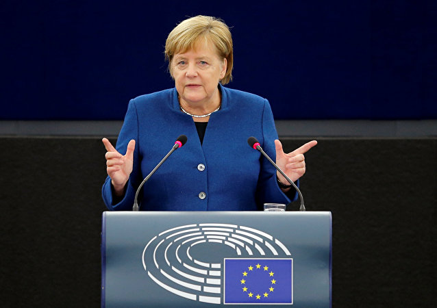 Angela Merkel all'Europarlamento di Strasburgo