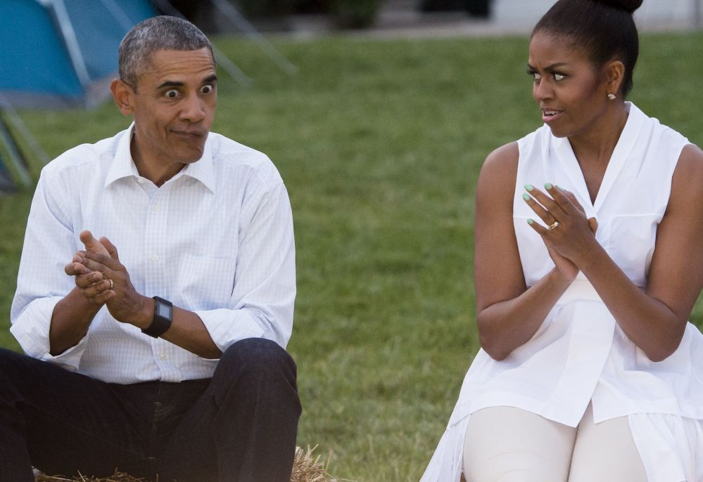 Barack e Michelle Obama alla Casa Bianca a Washington.